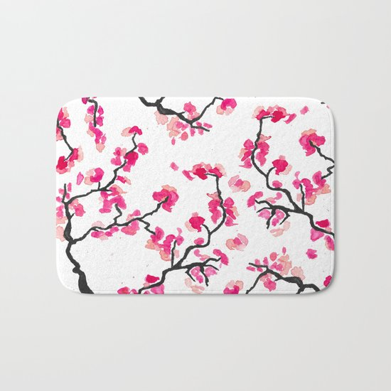 Japanese Cherry Blossoms Bath Mat