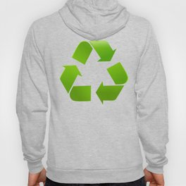Green Recycle symbol on white background Hoody