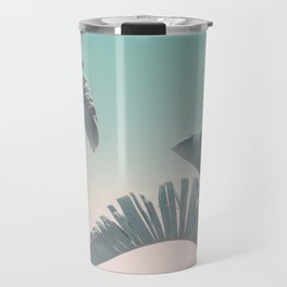 Tropical Palm Leaves In Pastel Light Travel Mug