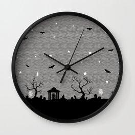 Spoopy Cemetery Print Wall Clock