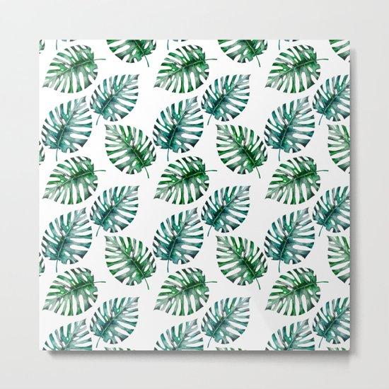 Tropical Foliage Monstera Pattern on #Society6 Metal Print