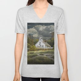 Old Mission Point Lighthouse in Early Autumn Unisex V-Neck