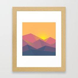 Mountain Sunset Illustration Framed Art Print
