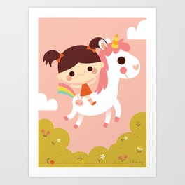 Riding a white unicorn Art Print