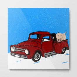Best Labrador Buddies In Old Red Truck Metal Print