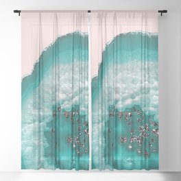 Turquoise Teal Agate with Black Glitter on Blush #1 #faux #glitter #gem #decor #art #society6 Sheer Curtain