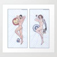 Tony and Bucky Heroic Nude Pinups Art Print