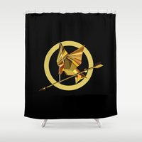 mockingjay Shower Curtains featuring Origani Mockingjay  by Gil Finkelstein