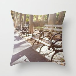 New York City Park Bench Moments Throw Pillow