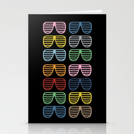 Rainbow Shutter Shades at Night Stationery Cards