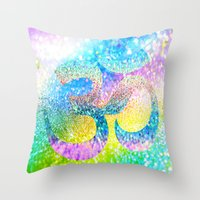 ohm Throw Pillows featuring ohm sparkle by haroulita