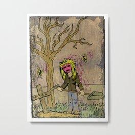 Little Grave Digger Girl Metal Print