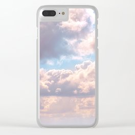 Illuminated fluffy clouds in a blue sky Clear iPhone Case