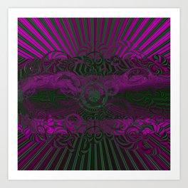 Wild Emerald Green Purple Circle 3D Abstract Art Print