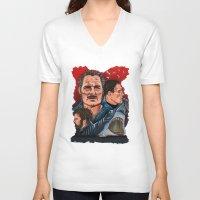 jaws V-neck T-shirts featuring JAWS by David Amblard