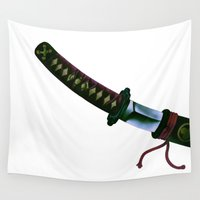 sword Wall Tapestries featuring Japanese Sword by FACTORIE