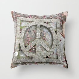 Peace sign on sidewalk in California Throw Pillow