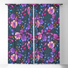 Fluro Floral Watercolour Flower Pattern Blackout Curtain