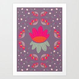 Folk Flower 1 Art Print