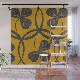 Grey on Yellow Clover Pattern Wall Mural