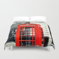 telephone Duvet Covers featuring British Telephone Booth by JMcCool