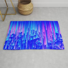 Neon Rain - A Digital Abstract Rug