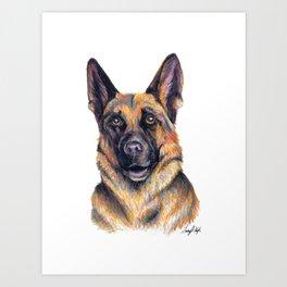 German Shepard - Dog Portrait Art Print