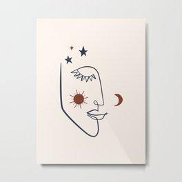 Celestial Goddess Line Art Metal Print