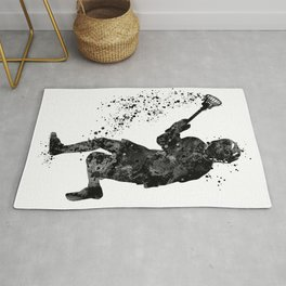 Boy Lacrosse Black Watercolor Sports Art Rug