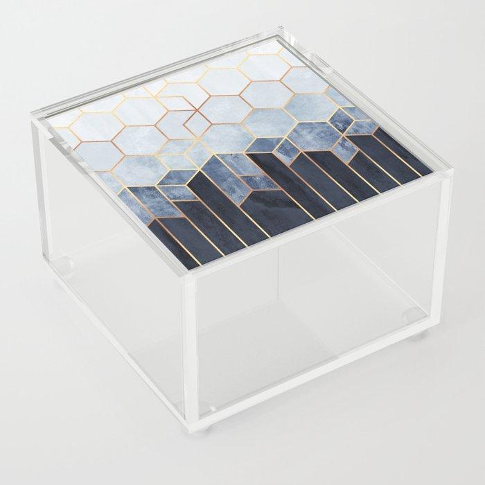 Soft Blue Hexagons Acrylic Box