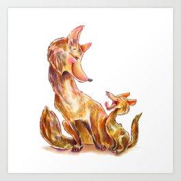 Tender moment Fox and Cub Art Print