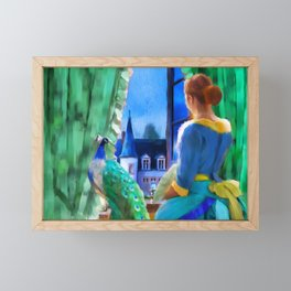 The Lady and the Peacock Framed Mini Art Print