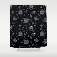 karma Shower Curtains featuring Karma by tipa graphic