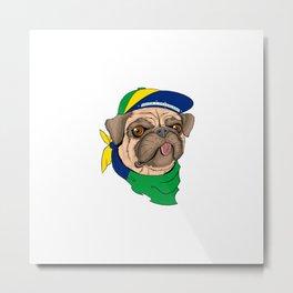 Pug Brazil Metal Print