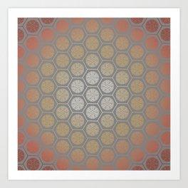 Hexagonal Dreams - Orange Gradient Art Print