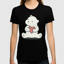 Kawaii Cute Polar Bear With Heart T-shirt