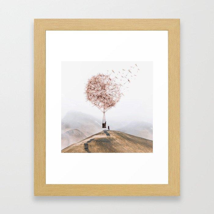 Flying Dandelion Gerahmter Kunstdruck