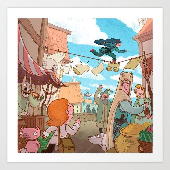 The Little Scribe: Thief!  Art Print