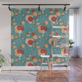 Anemone Floral Bouquets on Blue Wall Mural