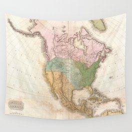 Vintage Map of North America (1818) Wall Tapestry