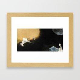 Horse flying to the moon Silver stream illustration Framed Art Print