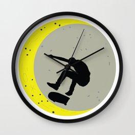 Skateboard Kick Flip OnThe Moon Silhouet Skateboarder Wall Clock