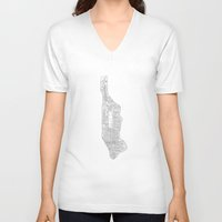 manhattan V-neck T-shirts featuring manhattan by Rick Onorato