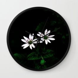 Botanical Still Life Little White Flowers Wall Clock
