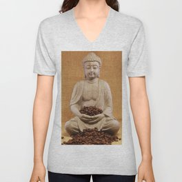 Coffee beans Buddha Unisex V-Neck