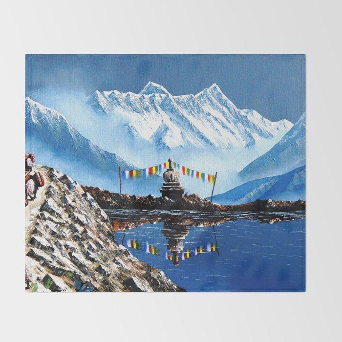 Panoramic View Of Annapurna Mountain Nepal Throw Blanket