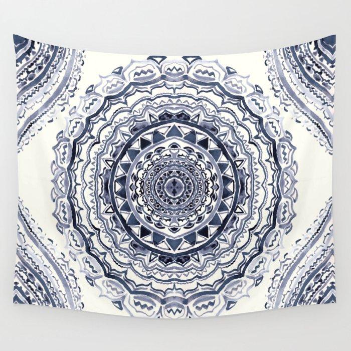 Navy Dark Blue Wandfarbe: Supernova-In Navy, Dark Blue, & Grey Wall Tapestry By