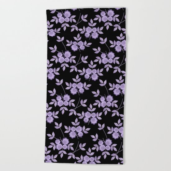 Retro . purple flowers on a black background . Beach Towel