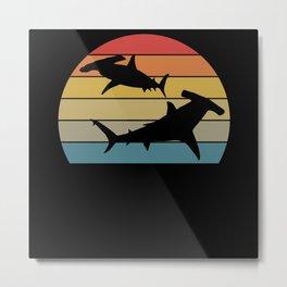 Retro Hammerhead I Predator Shark Motif Metal Print