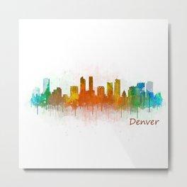 Denver Colorado City Watercolor Skyline Hq v3 Metal Print